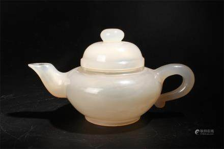 CHINESE AGATE CARVED TEA POT