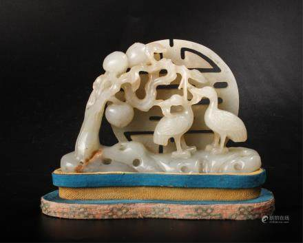 CHINESE CELADON JADE CARVED CRANES WITH STAND