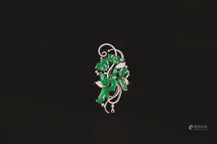 老坑翡翠墜/別針鑽飾 附寶石鑑定書
