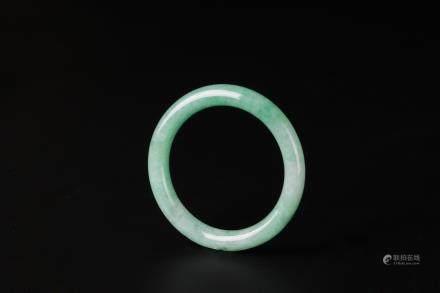 冰種滿綠翡翠玉環 附寶石鑑定書