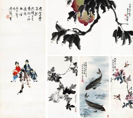 李奇茂、邵幼轩、伯汉、封芑昌、钮骅 名家书画(五件一组)