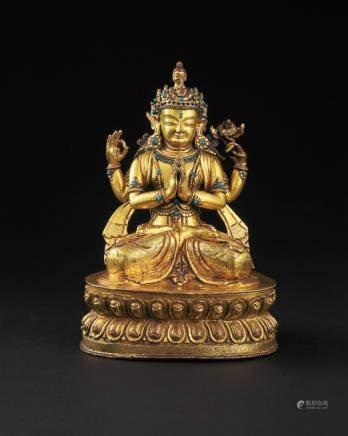 元 铜鎏金四臂菩萨坐像