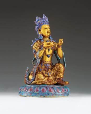 清乾隆 炉钧釉彩绘观音菩萨坐像