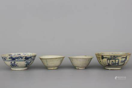 A set of 4 Chinese porcelain Hatcher cargo bowls, Ming dynasty