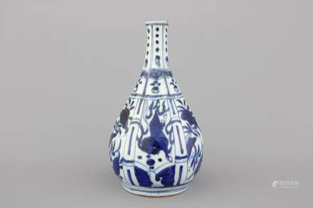 A Chinese blue and white Ming dynasty Wan-Li bottle with horses, 16th C.