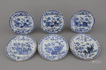 A set of 6 Chinese porcelain blue and white plates with floral banner decoration, 18th C.