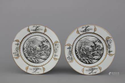 A pair of Chinese export porcelain grisaille and gilt plates with Aurora in her chariot, Qianlong, 18th C.