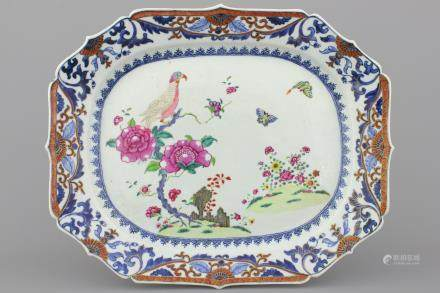 A large Chinese porcelain famille rose octagonal dish with an eagle, Qianlong, 18th C.