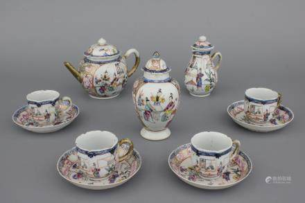 A Chinese porcelain famille rose part tea service, Qianlong, 18th C.