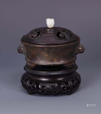 A GILT BRONZE CENSER WITH COVER AND BASE
