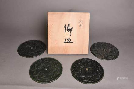A SET OF FOUR BRONZE MIRRORS, SHOWA PERIOD