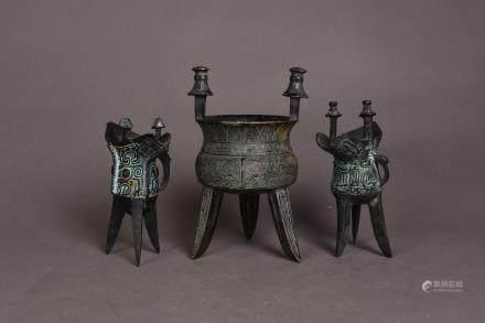 A SET OF THREE BRONZE CUP, SHOWA PERIOD