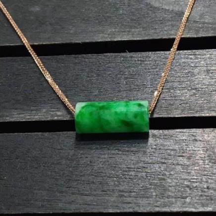 18K A LULUTONG DESIGN NATURAL ICY JADEITE PENDANT With certificate