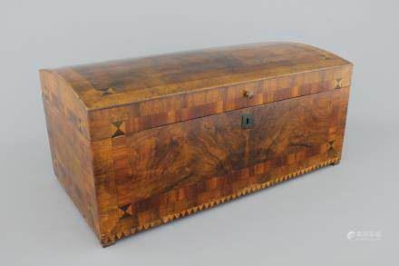 A large German inlaid marquetterie documents box, 19th C.