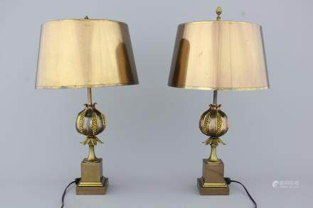 A pair of Maison Charles pomegranate lamps, marked, ca. 1950