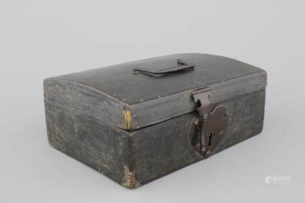 A leather documents chest with a heart-shaped lock, 17/18th C.