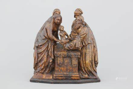 "An Antwerp oak retable fragment depicting ""The Circumcision"", 16/17th C."