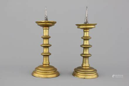 A pair of Nuremberg brass pricket candlesticks, ca. 1500