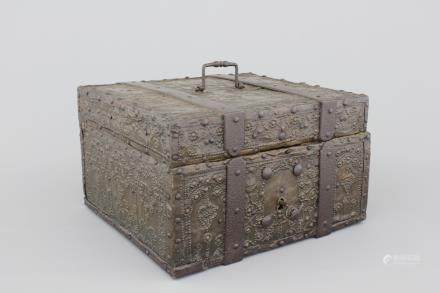 A cast and pierced iron and wood document's box, 17/18th C., German (?)