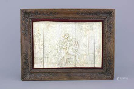 A carved ivory panel depicting Apollo playing the lyra for Daphne, probably Dieppe, 19th C.