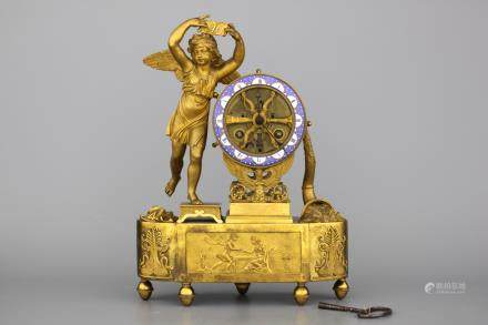 A French Empire gilt bronze and enamel skeleton pendule depicting Cupid early 19th C.
