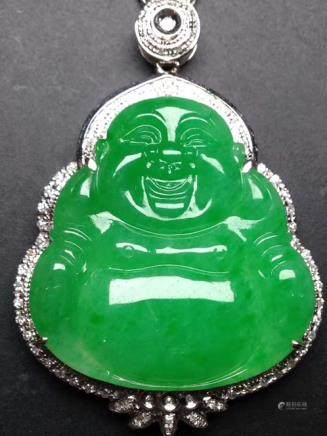 A NATURAL  ICY LAUGHING BUDDHA DESIGN JADEITE With certificate.