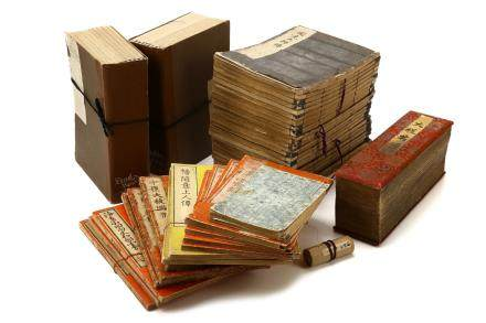 A LARGE COLLECTION OF WOODBLOCK PRINTED BOOKS