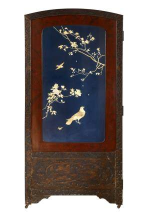 A LARGE INLAID TWO PANEL SCREEN