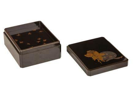 A BLACK LACQUER DOCUMENT BOX