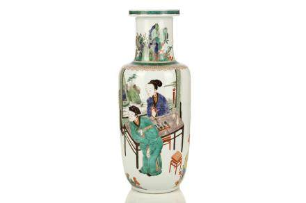 A CHINESE FAMILLE VERTE ROULEAU VASE