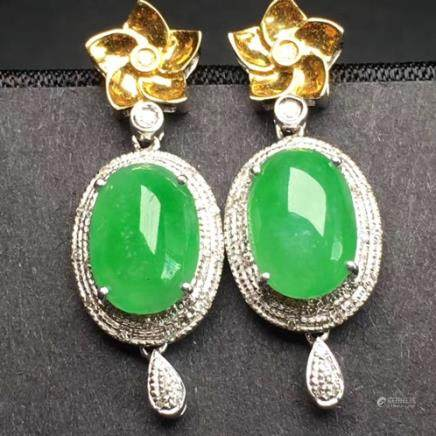 PAIR NATURAL EGG-SHAPED JADEITE EARRING