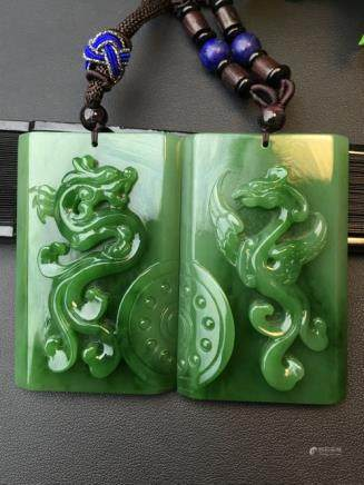 PAIR NATURAL DRAGON&PHOENIX DESIGN HETIAN GREEN JADE SCULPTES