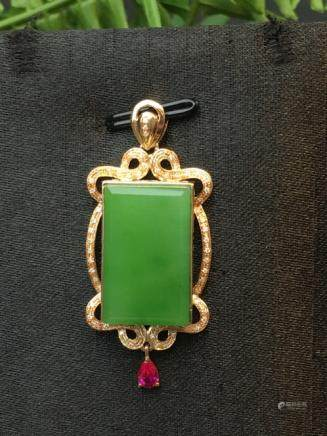 A NATURAL SQUARE-SHAPED HETIAN GREEN JADE PENDANT
