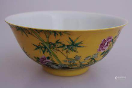 A  YELLOW GLAZE FLOWER PATTERN BOWL