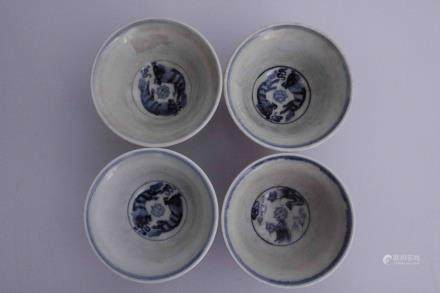 FOUR BLUE&WHITE DRAGON CUPS