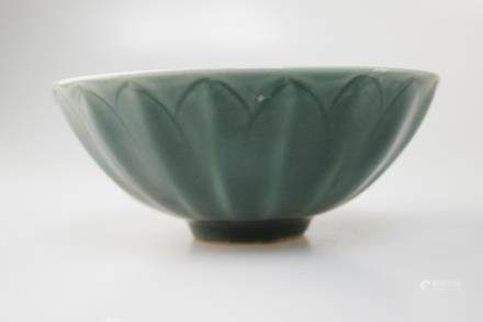 A DOUQING CELADON LOTUS PETAL SHAPED BOWL