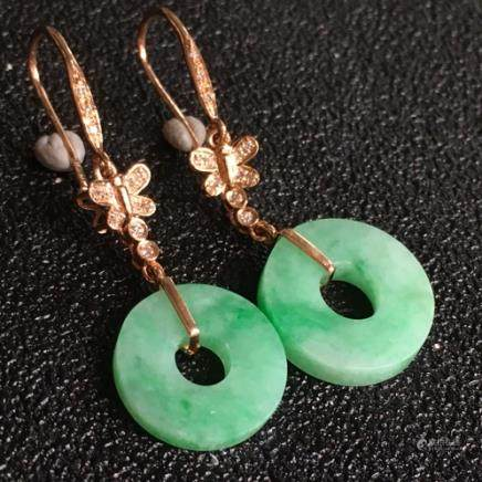 PAIR NATURAL RING-SHAPED PIAOLV JADEITE EARRING