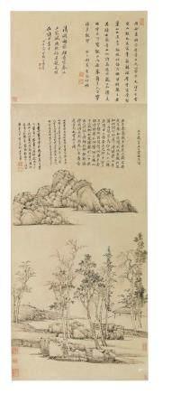 王翬 1632-1717仿倪瓚山水