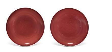 清雍正 紅釉盤一對