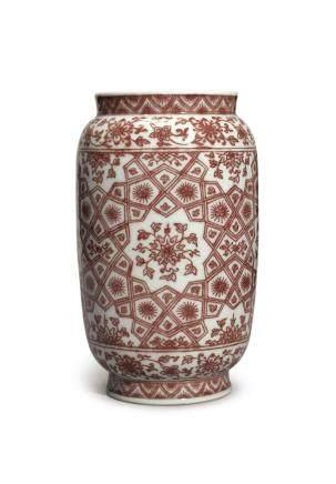 清乾隆   釉裏紅錦地開光花卉紋奘罐 《大清乾隆年製》款