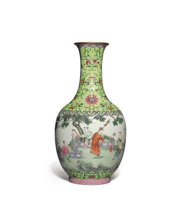 清嘉慶   粉彩嬰戲圖瓶 《大清嘉慶年製》款