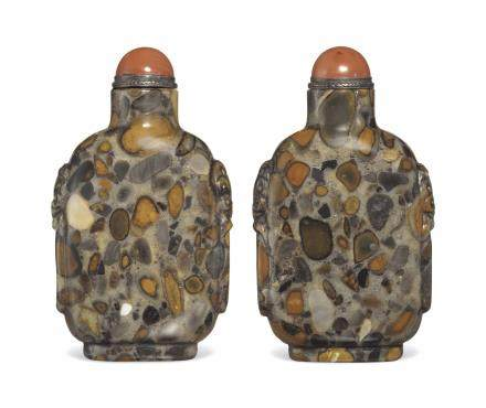 A PUDDINGSTONE SNUFF BOTTLE