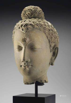 A life-size stucco head of Buddha
