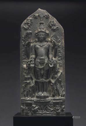 A Black Stone Stele of Vishnu