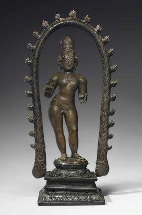 A rare and important bronze figure of Sambandar