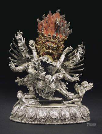 A rare silver alloy figure of Hayagriva