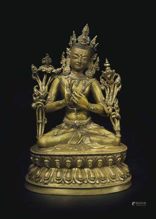 A Very Fine Bronze Figure of Maitreya
