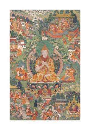 A Thangka depicting Tsongkhapa TIBET, 18TH CENTURY