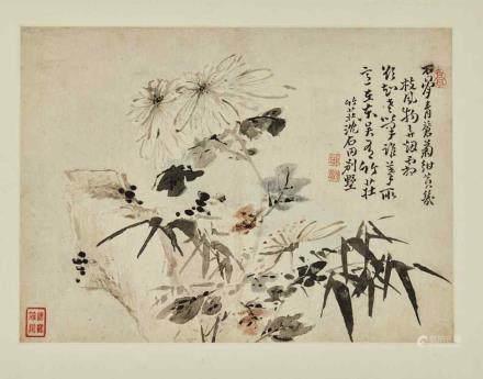 高鳳翰 1683-1749 指畫草蟲魚藕