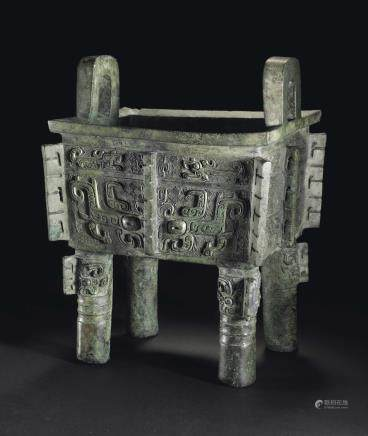 THE YA YI FANGDING A HIGHLY IMPORTANT AND RARE BRONZE RECTANGULAR...